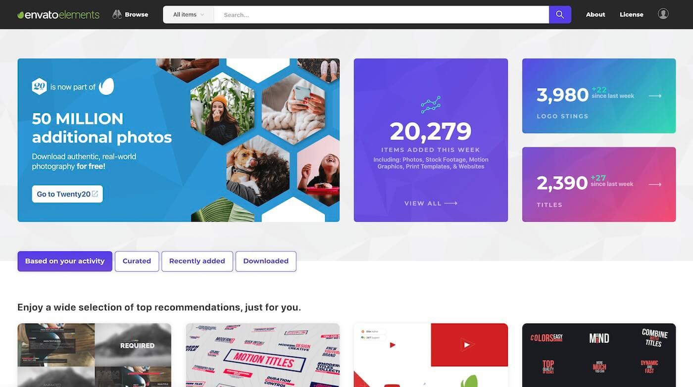 Envato Elementのトップページ
