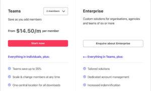 Envato ElementsのTeamsプランと企業プラン