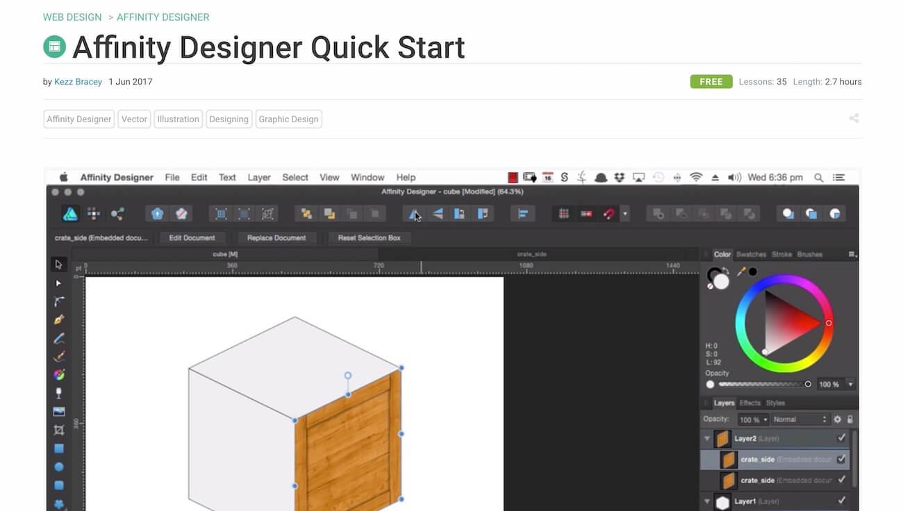 Envato Tuts+にあるAffinity Designerの動画コース