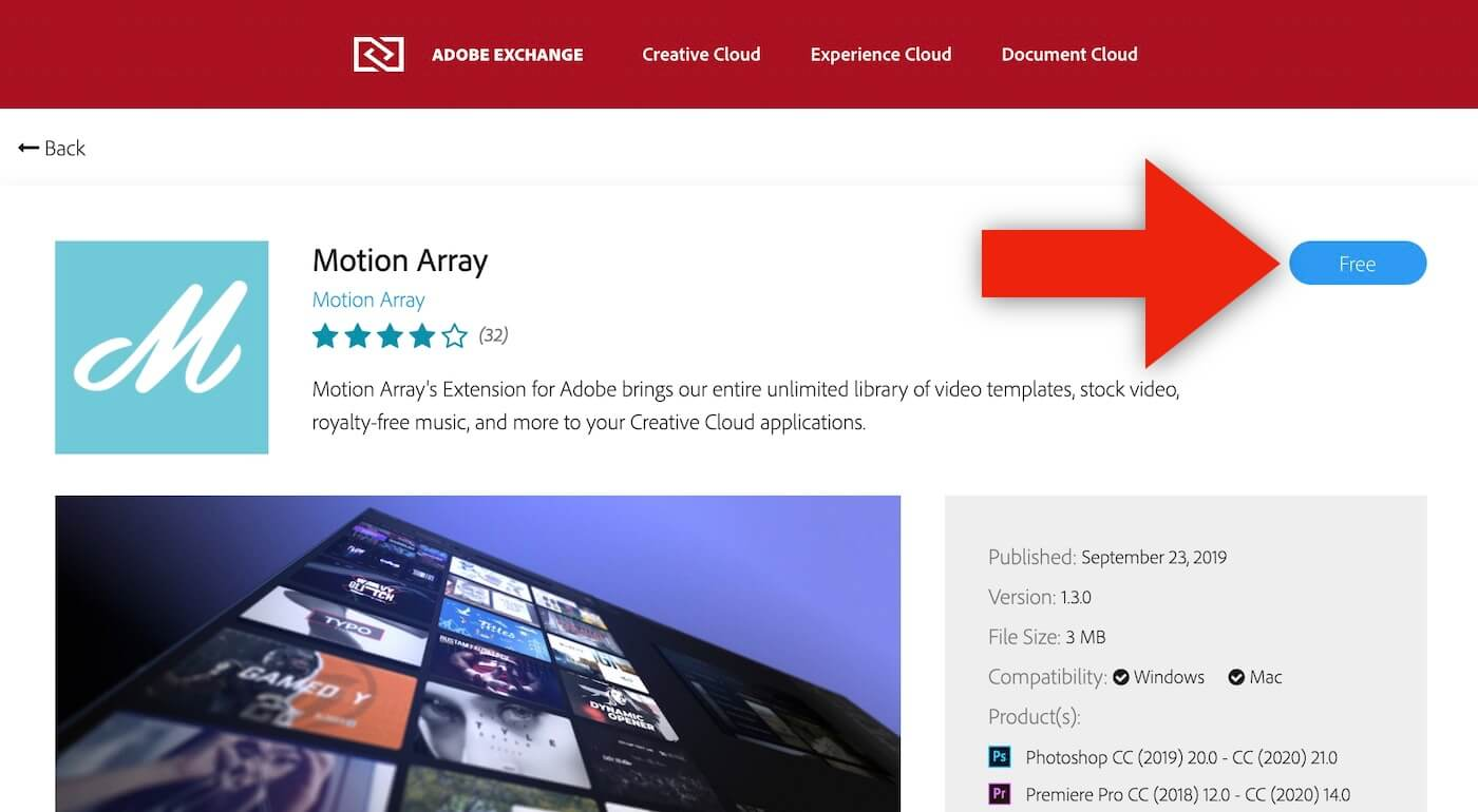 Motion Array's Marketplace Extension For Adobeをダウンロード