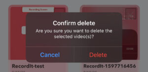 削除の確認ボタン